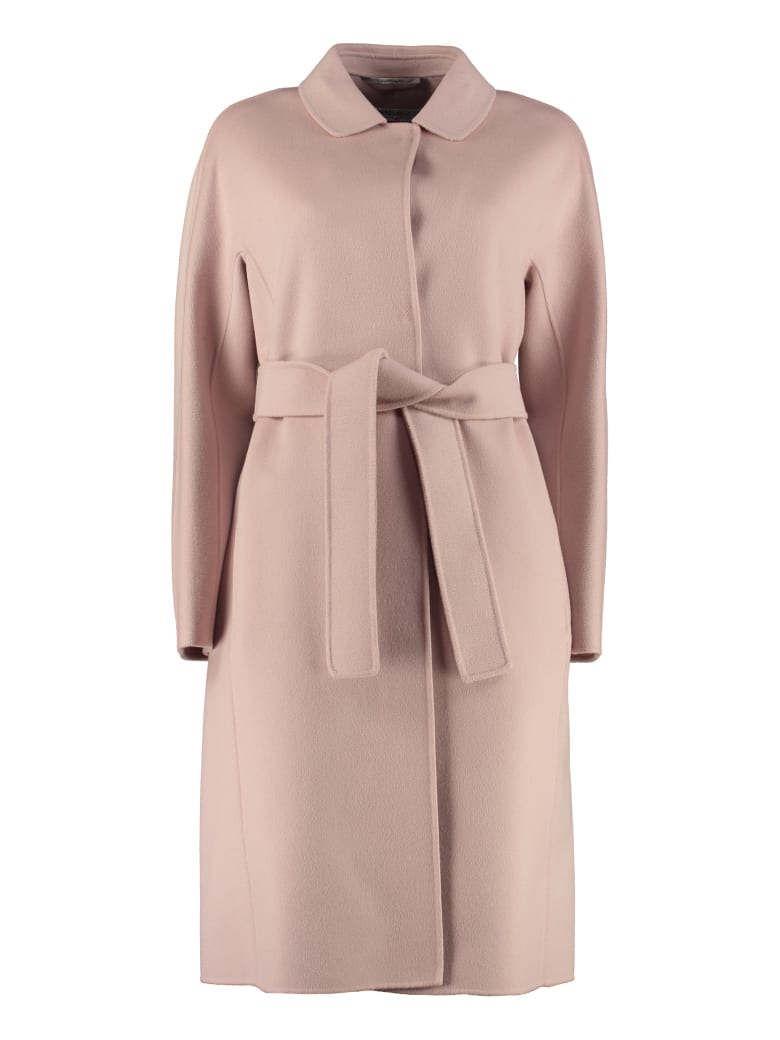 'S Max Mara Here is The Cube Doraci Wool Long Coat - Pink