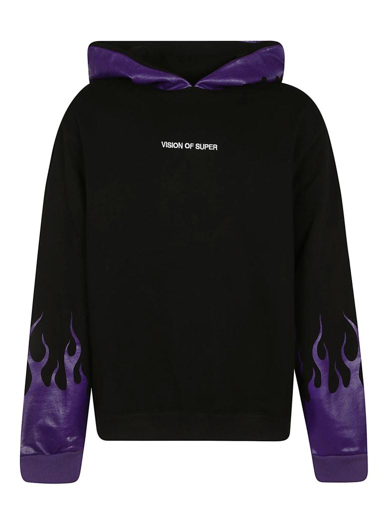 Vision of Super Flame Printed Hoodie - Black/Purple