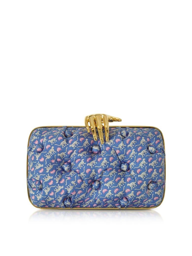 Benedetta Bruzziches Leopards Printed Blue Satin Silk Carmen Clutch W/ Golden Hand - Burgundy