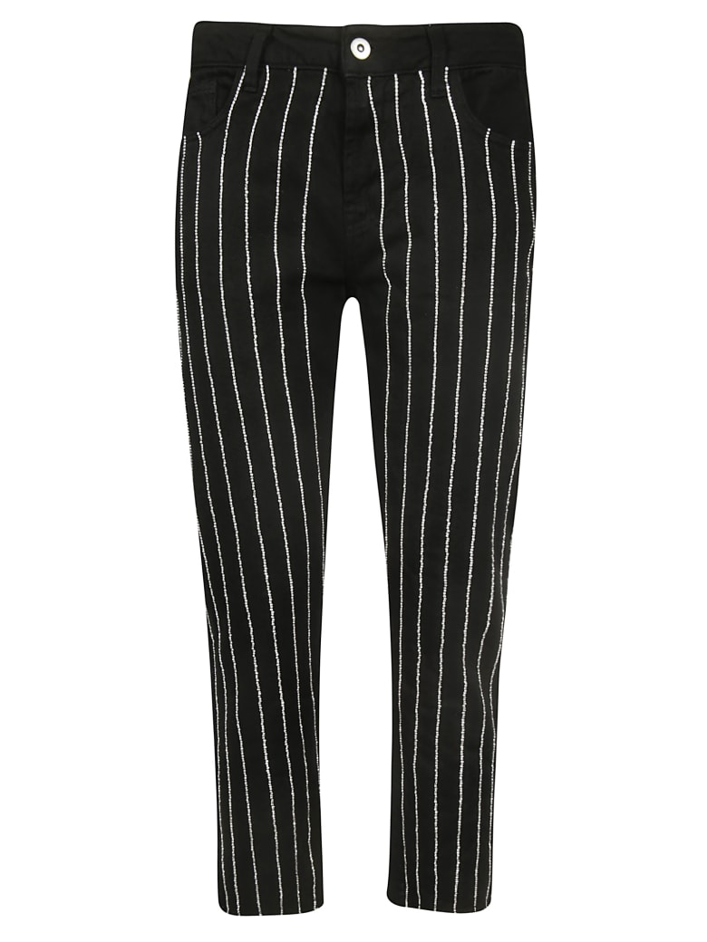 Giuseppe di Morabito Embellished Striped Trousers - Black
