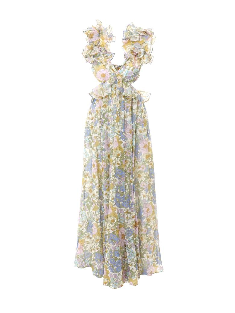 Zimmermann Super Eight Ruffle Gown Dress - Blue