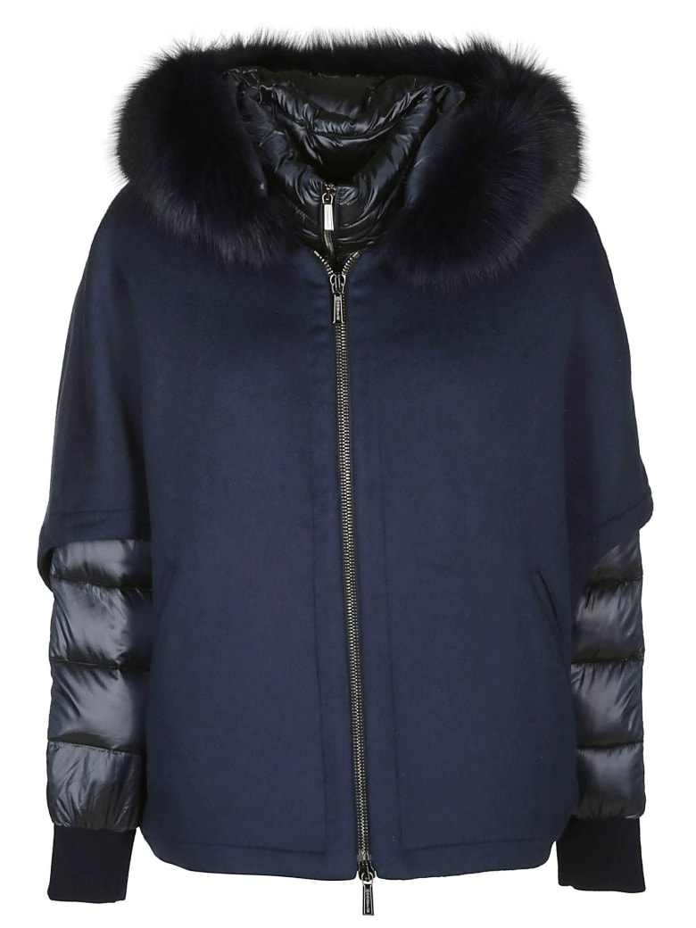 Moorer Contrast Puffer Jacket - Blue