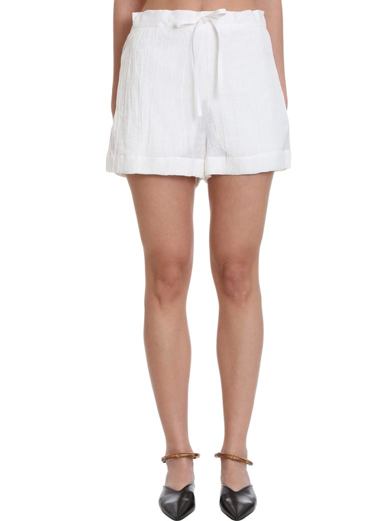 Jil Sander Pyjama Shorts In White Cotton And Linen - white