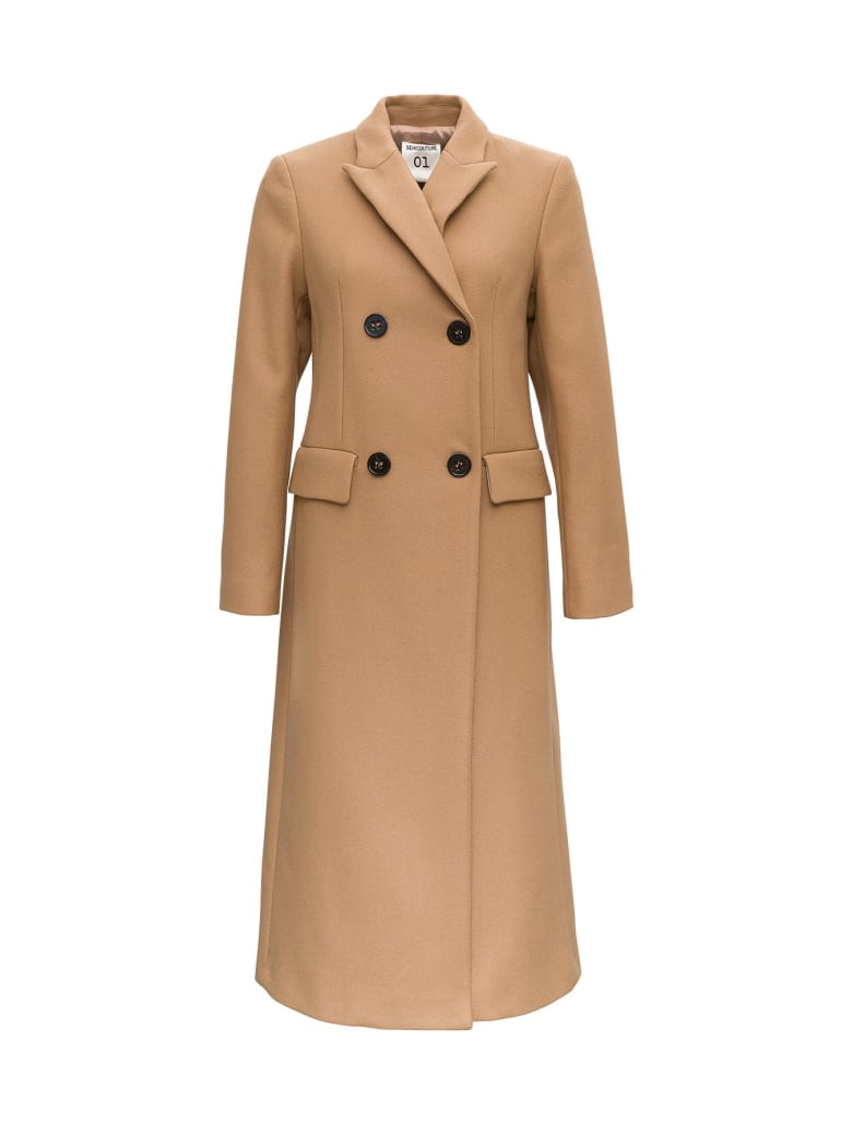 SEMICOUTURE Double Breasted Coat In Wool - Beige