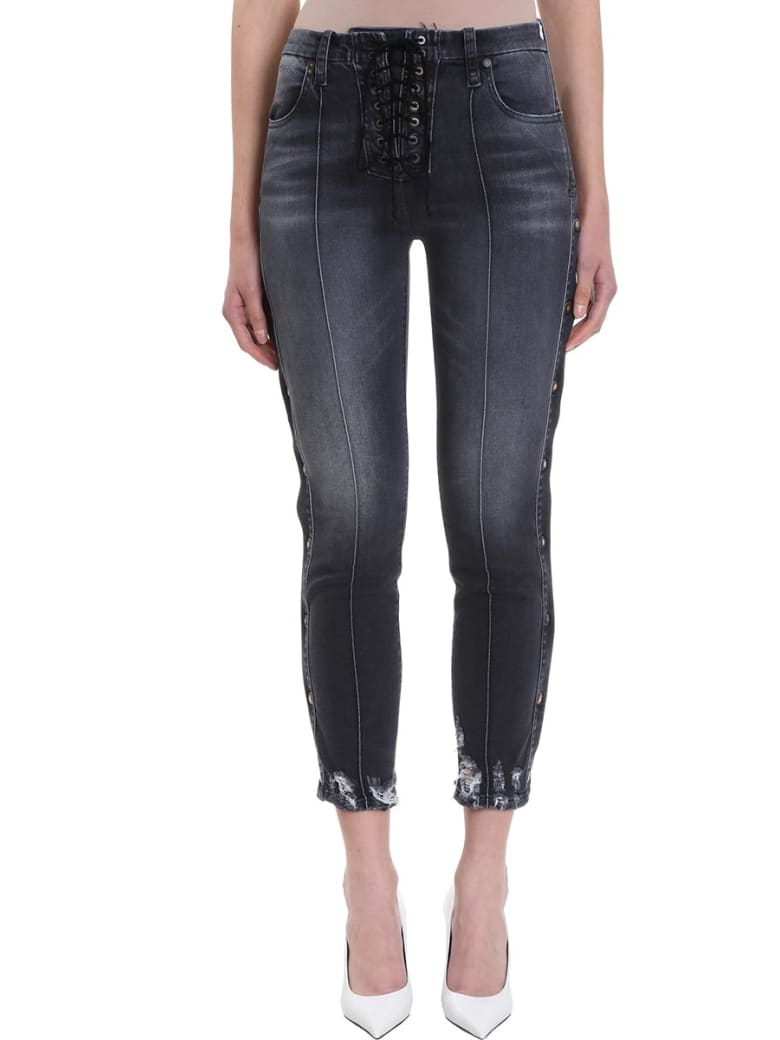 Ben Taverniti Unravel Project Lace Up  Jeans - black