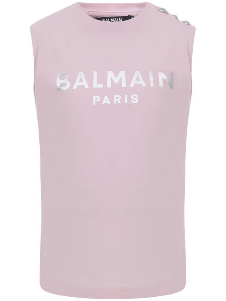 Balmain Paris Kids Tank Top - Pink