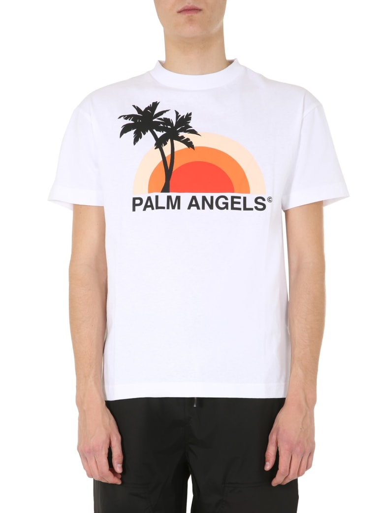 Palm Angels Crew Neck T-shirt With Logo - BIANCO
