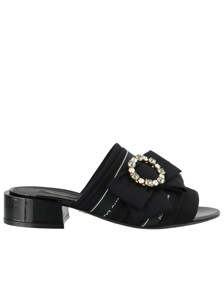 Dolce & Gabbana Charmeuse Slide With Bow And Crystals - Black