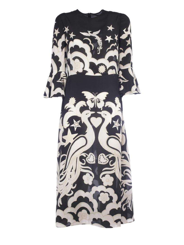 Valentino Printed Midi Dress - Na Black Ivory