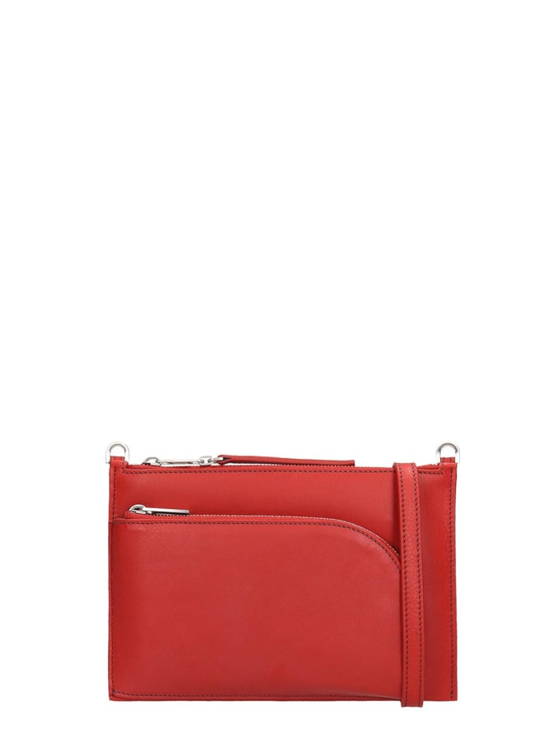 Rick Owens Club Pouch Shoulder Bag In Red Leather - red