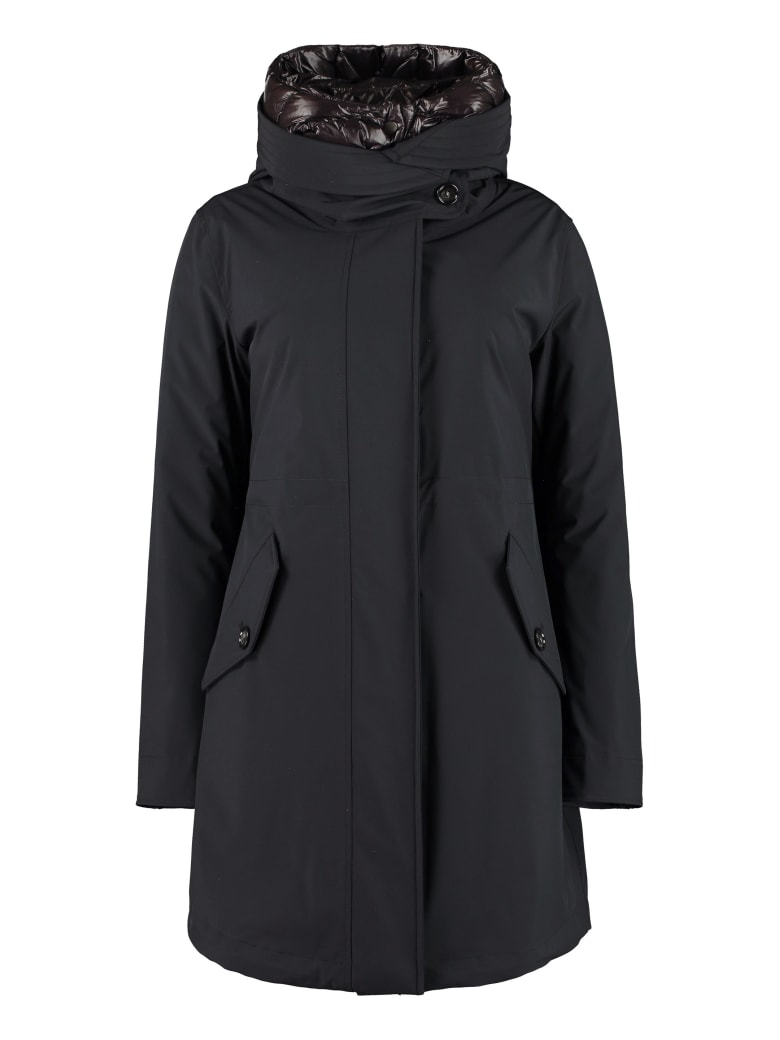 Woolrich Military Technical Fabric Parka With Internal Removable Down Jacket - Nero