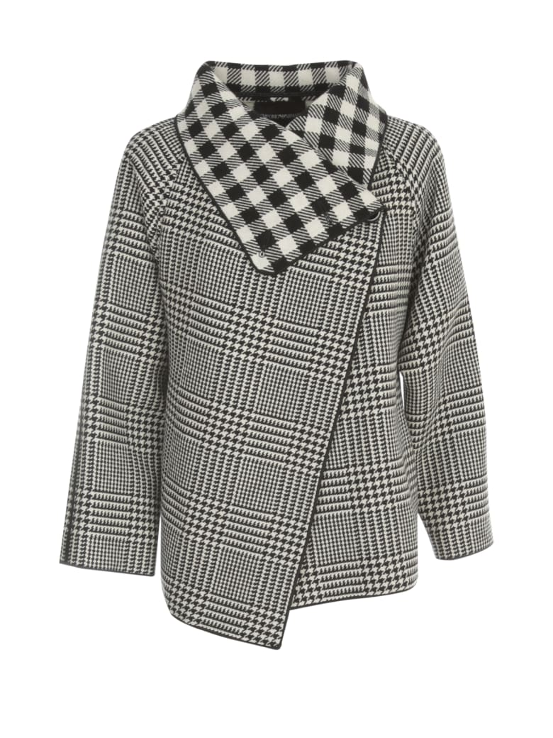 Emporio Armani Checked Caban Coat - Bianco Nero