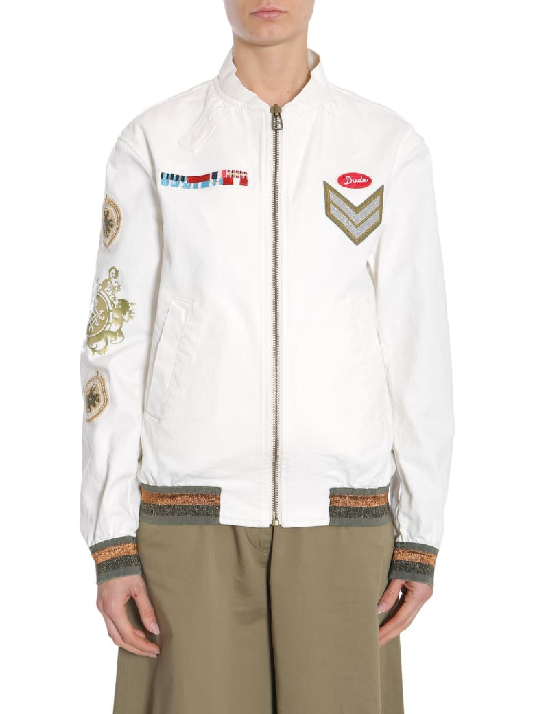 Mr & Mrs Italy Denim Bomber Jacket - BIANCO