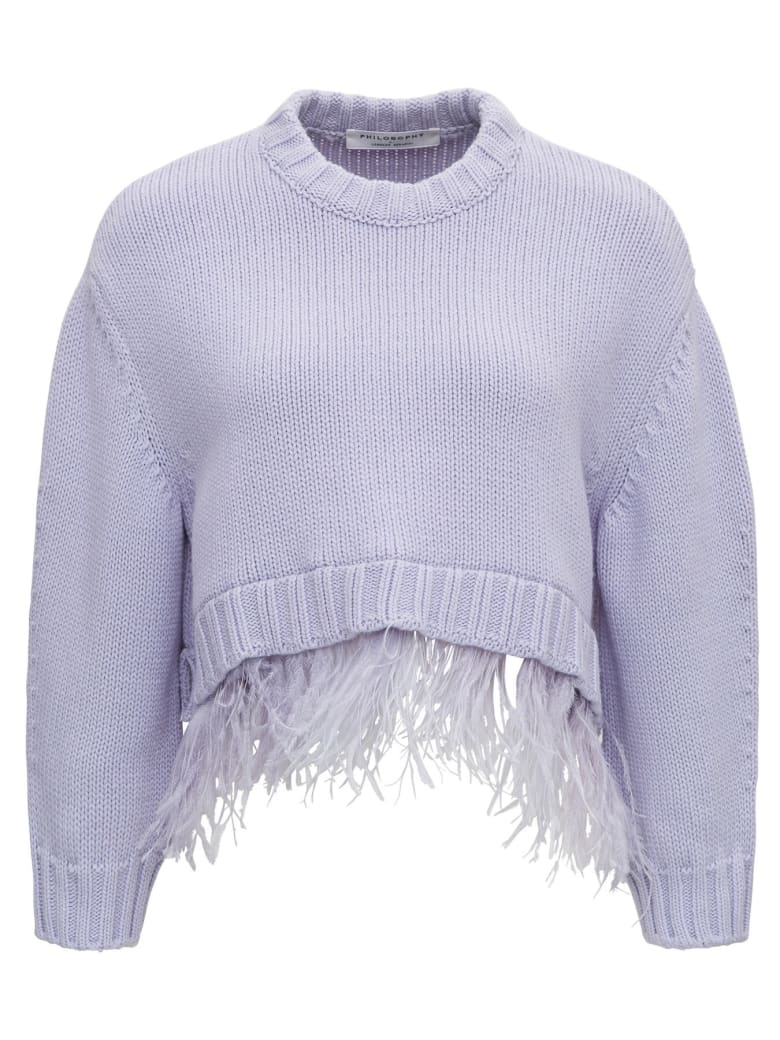 Philosophy di Lorenzo Serafini Sweater With Feathers - Violet