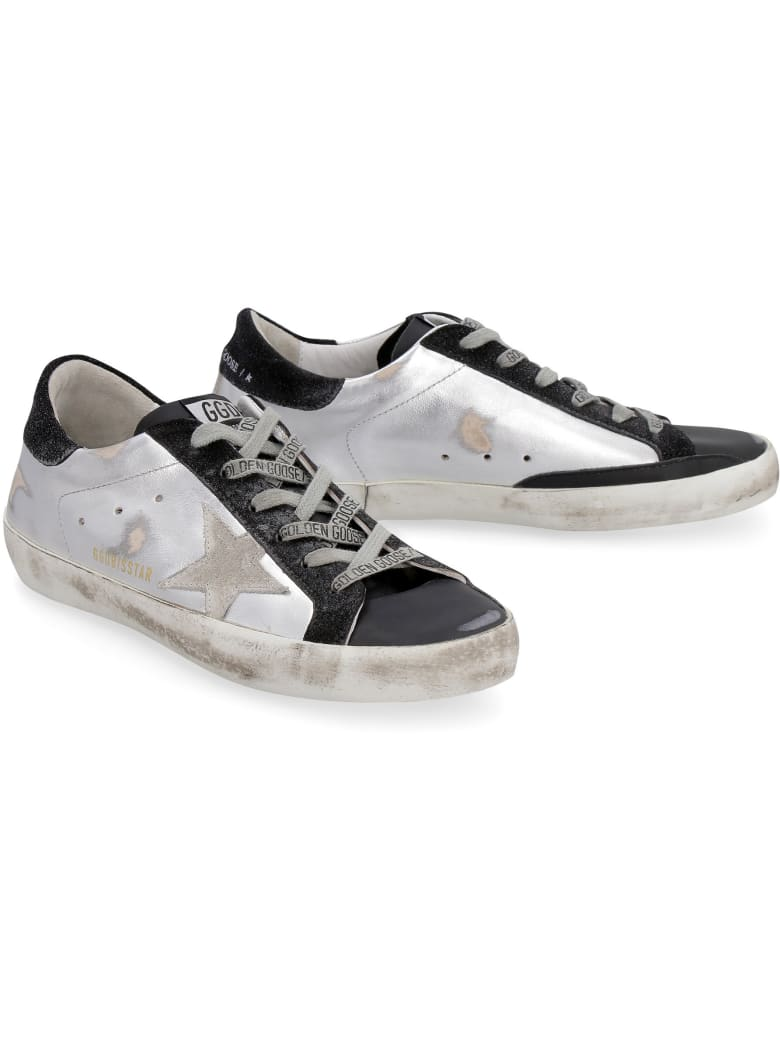 Golden Goose Superstar Metallic Leather Lace-up Sneakers - Silver
