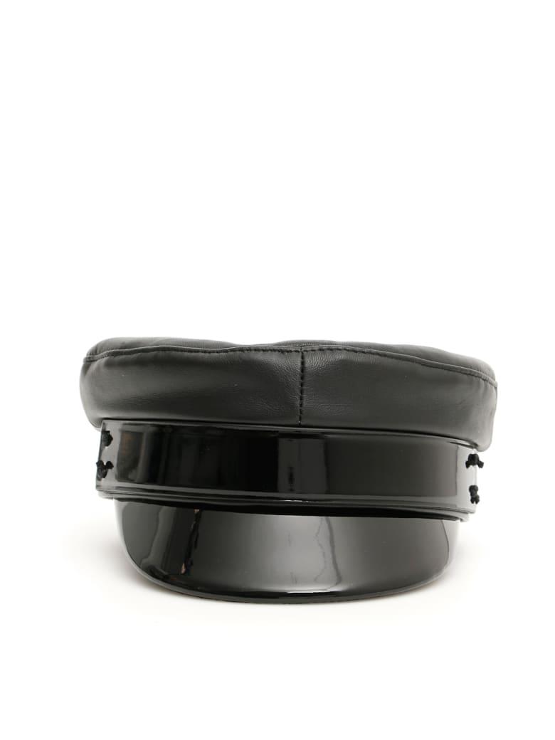 Ruslan Baginskiy Baker Boy Leather Hat - BLACK (Black)