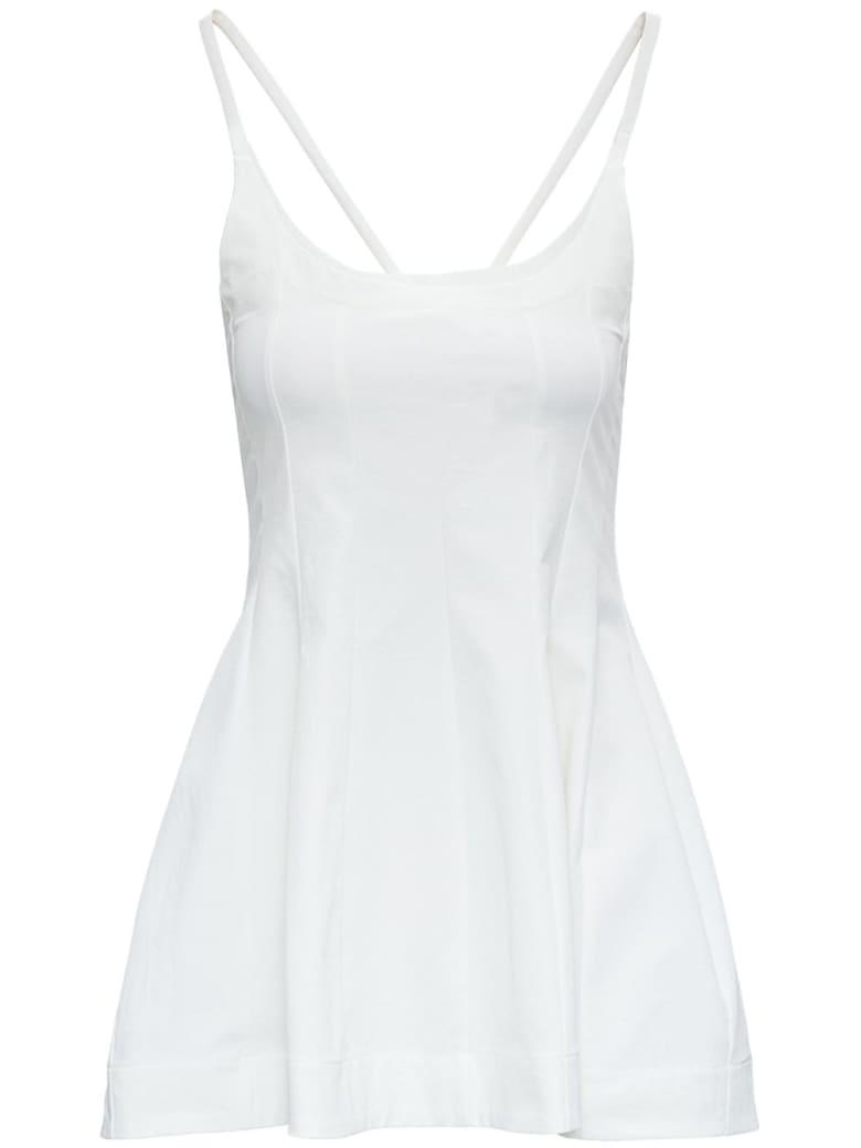 Jil Sander White Jersey Tank Top With Flared Bottom - WHITE