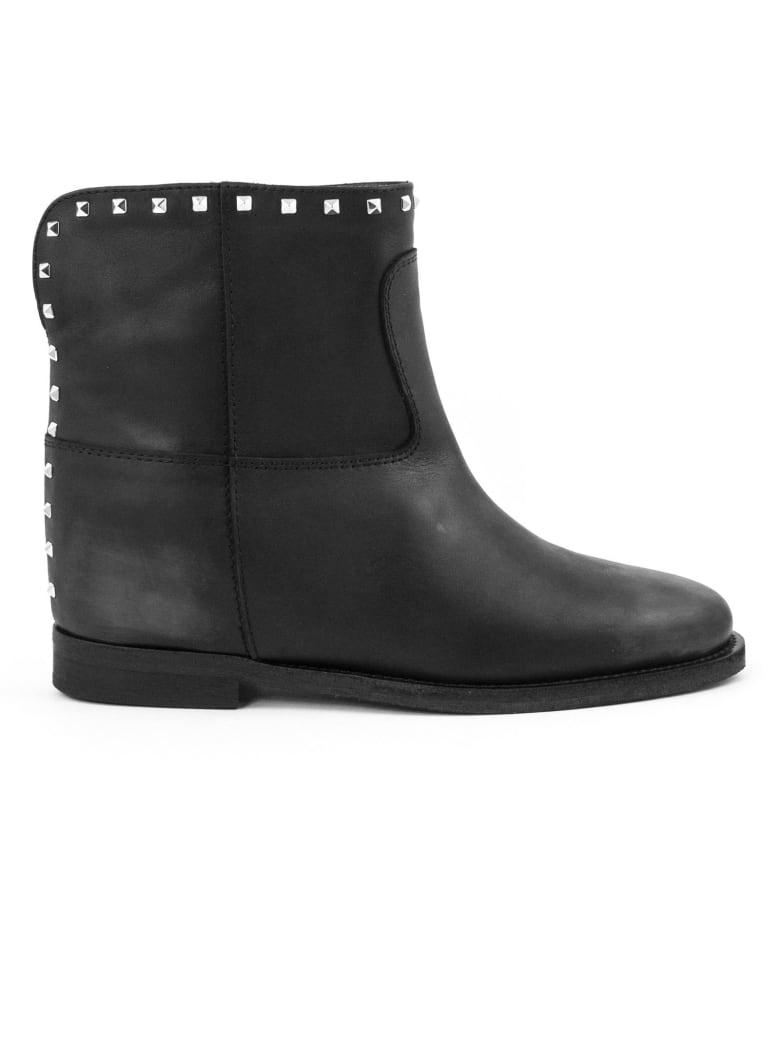 Via Roma 15 Black Leather Ankle Boots - Nero