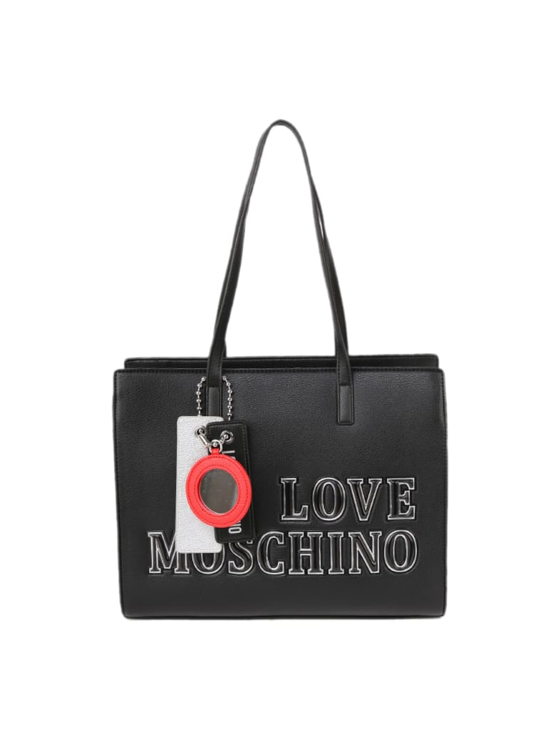 Love Moschino Black Ecoleather Bag With Pendant - Black