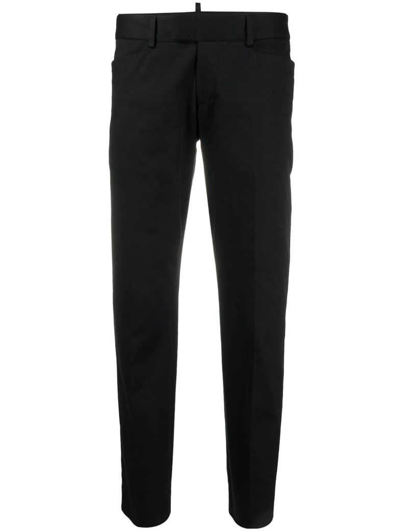 Dsquared2 Black Cotton Twill Straight Leg Trousers - Nero