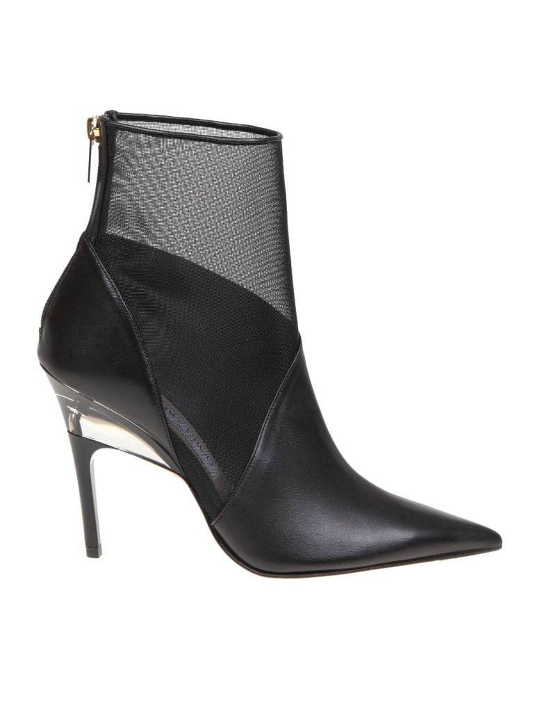 Jimmy Choo Boot Sioux 100 In Leather And Net - Black
