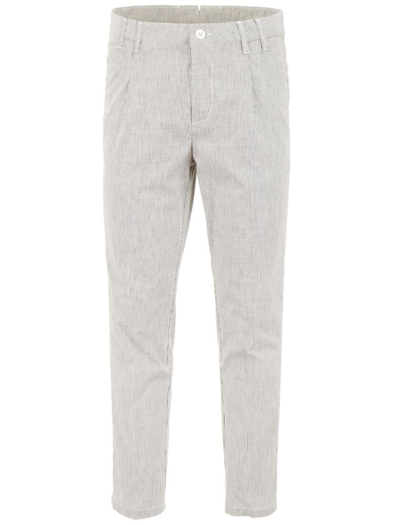 CC Collection Corneliani Classic Cotton Trousers - WHITE MULTI (Grey)