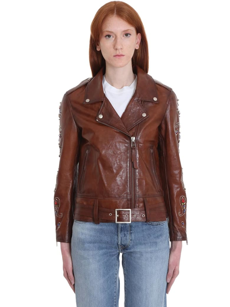 Golden Goose Victoria Leather Jacket In Brown Leather - Dark brown