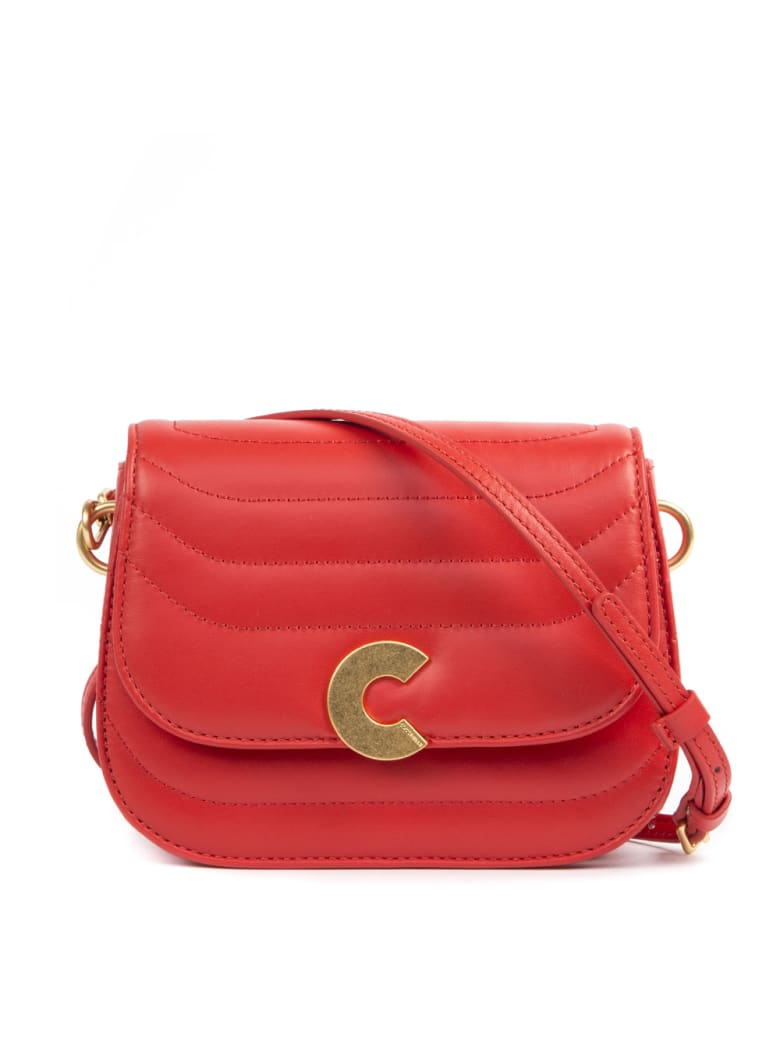 Coccinelle Craquante Red Leather Bag - Polish red