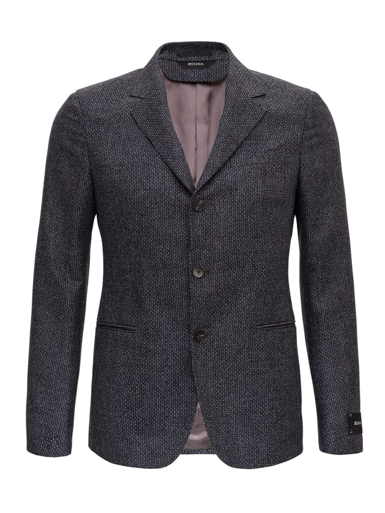 Z Zegna Single-breasted Blazer In Wool - Grey