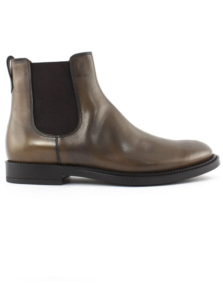 Tod's Ankle Boots In Brown Leather - Bruciato
