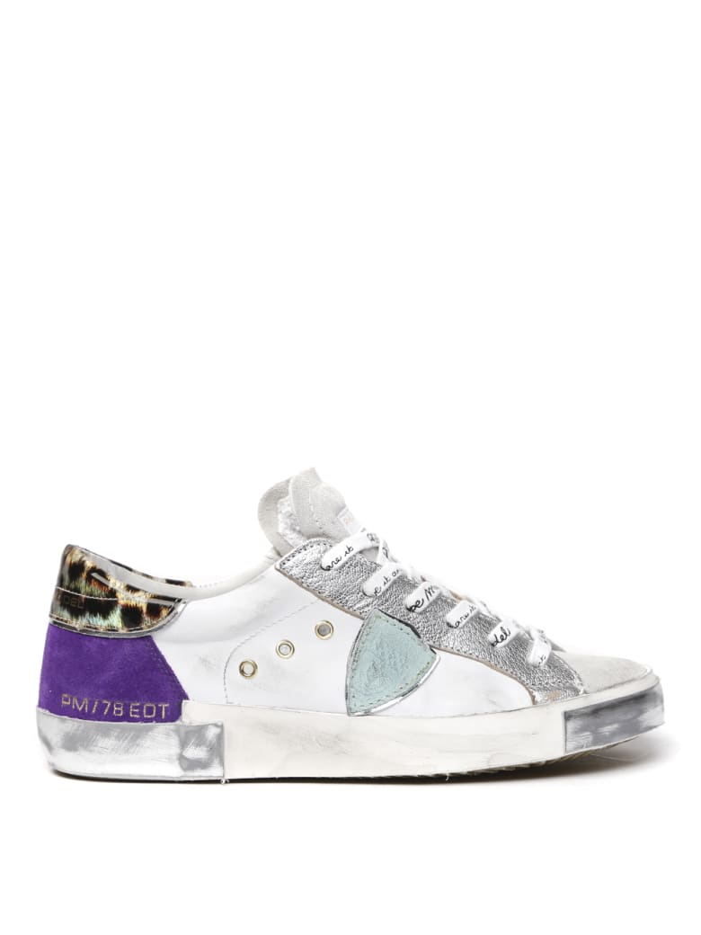 Philippe Model White & Violet Leather & Suede Sneakers - White/violet