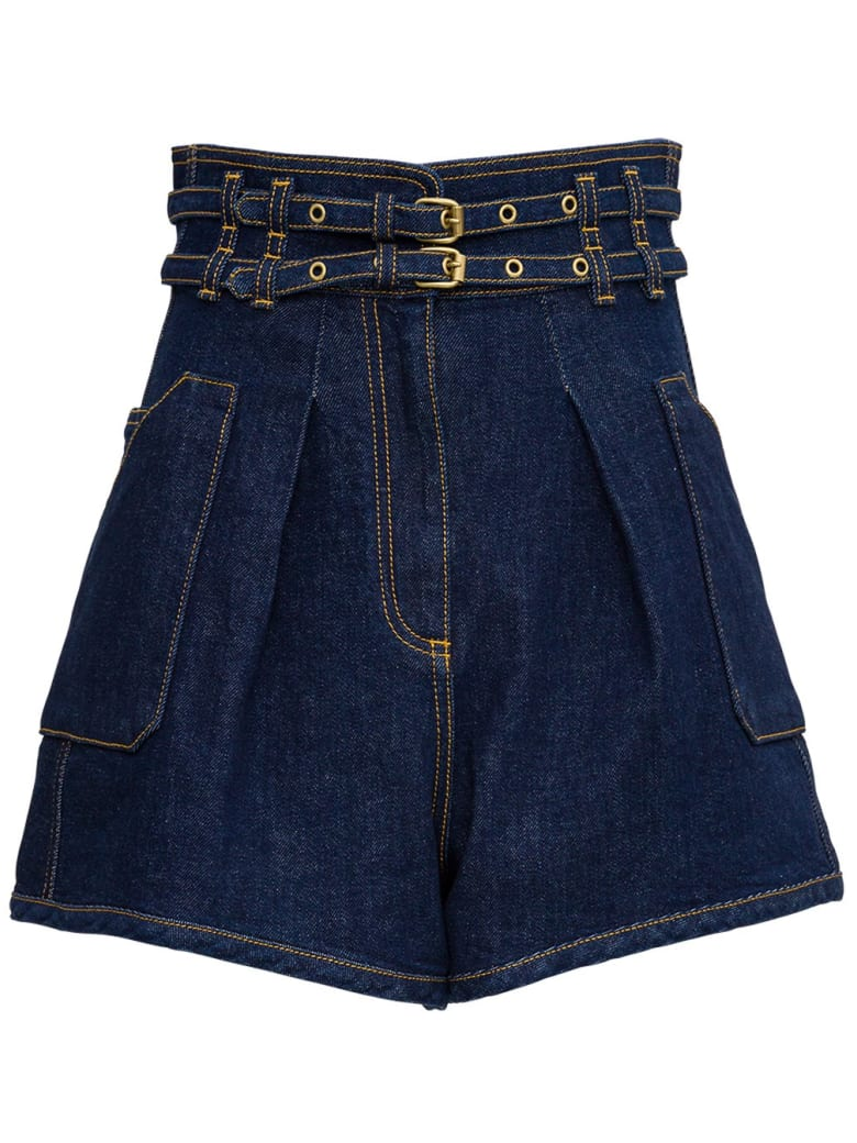 Philosophy di Lorenzo Serafini High Waisted Shorts With Double Belt - Blu