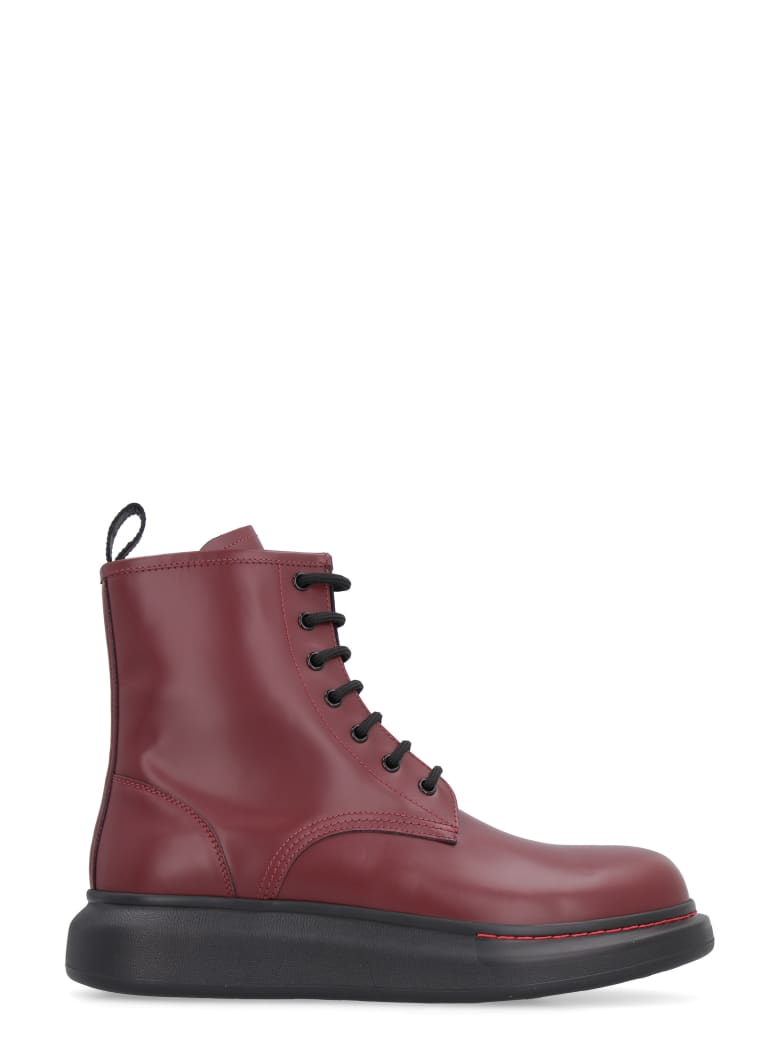 Alexander McQueen Leather Combat Boots - Burgundy