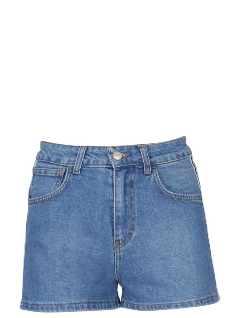 GCDS High Waisted Denim Shorts - Blue