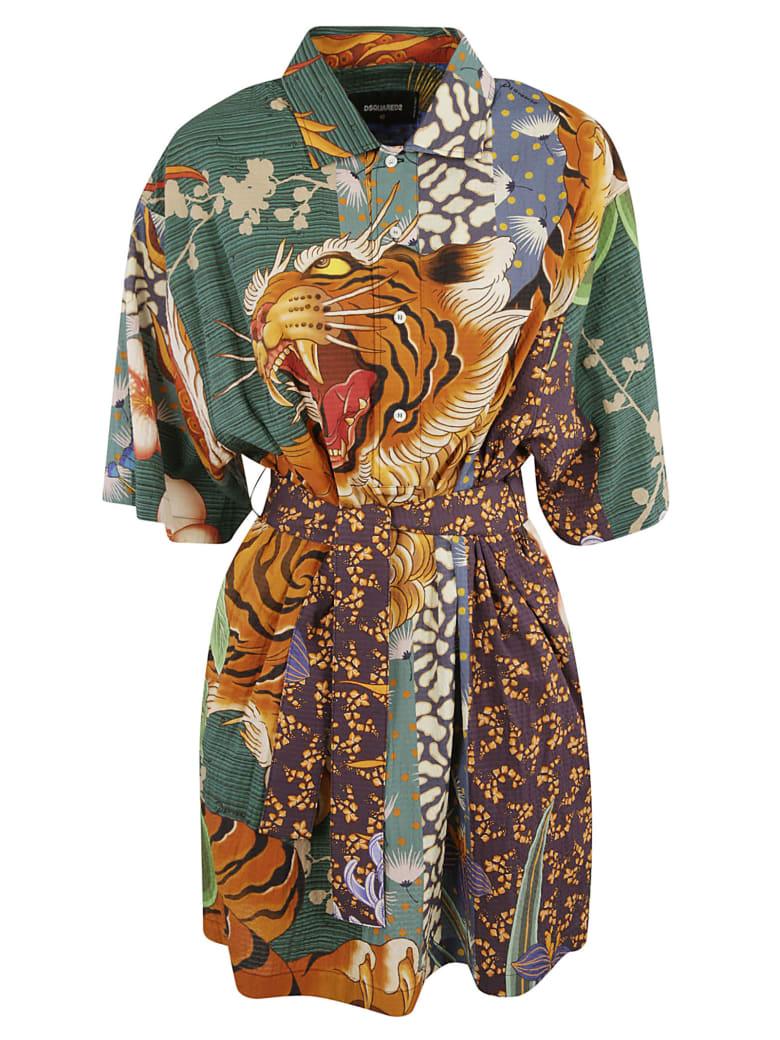 Dsquared2 Tiger Front Print Dress - Multicolor