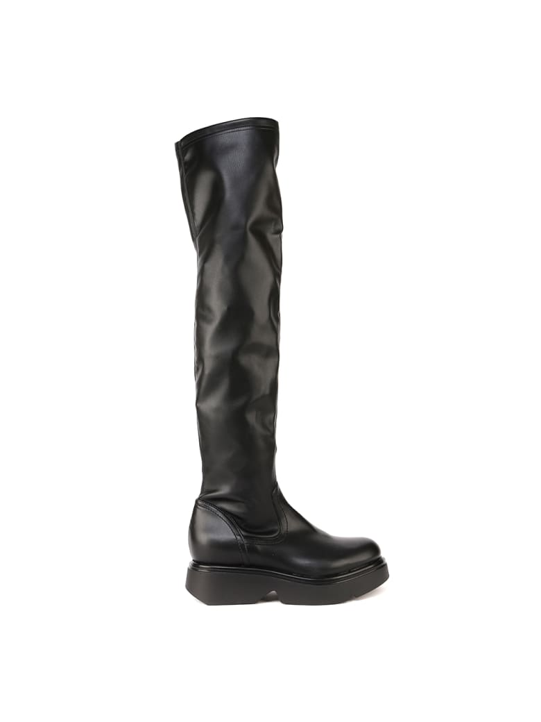 Elena Iachi Over The Knee Leather Boots - Black