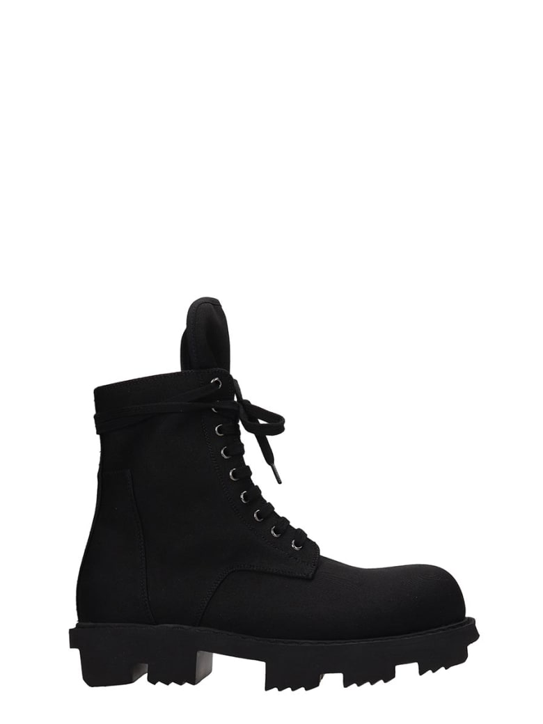 DRKSHDW Bozo Megatooth Combat Boots In Black Canvas - black