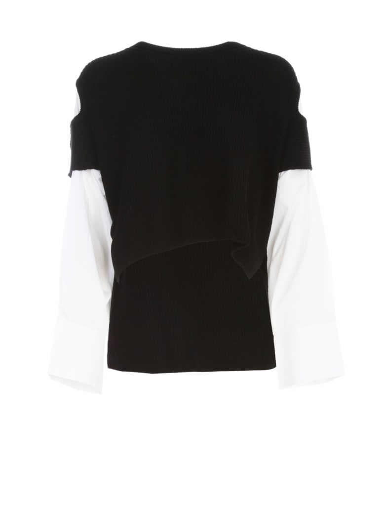 Y's Shoulder Hole Sweater L/s W/shirt - Black