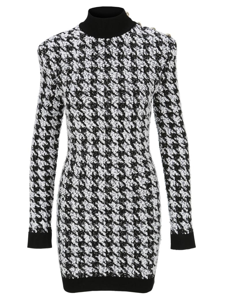 Balmain Pied De Poule Mini Dress - BLACK + WHITE