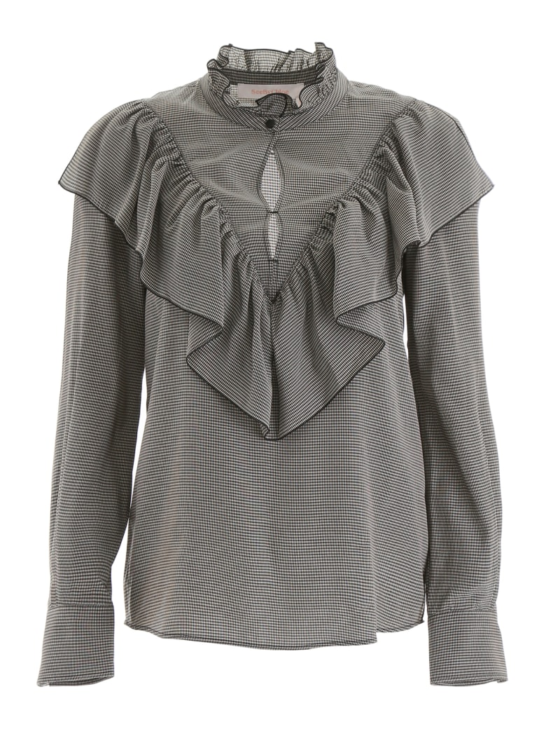 See by Chloé Ruffled Blouse - BLACK WHITE (White)