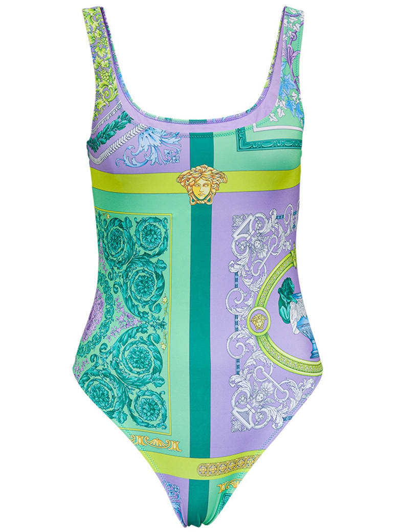 Versace One-piece Swimsuit With Barocco Mosaic Print - Violet