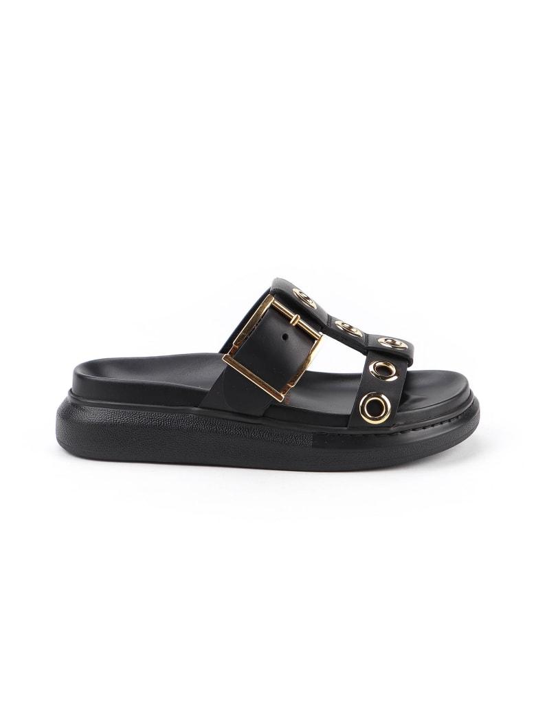 Alexander McQueen Slide Sandal - Black/gold