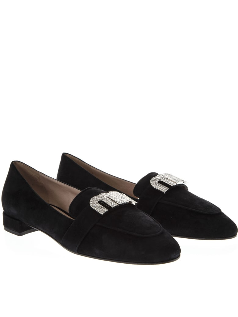 Miu Miu Black Loafer In Suede With Logo - Black