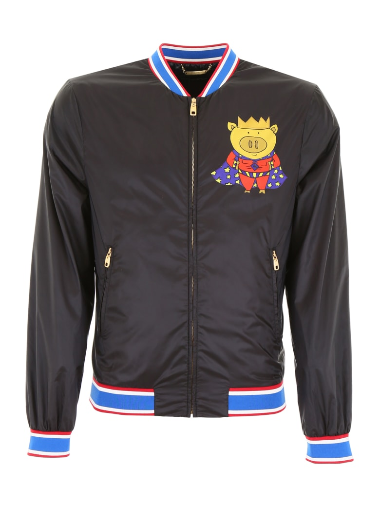 Dolce & Gabbana Super Pig Bomber Jacket - SUPERPIG CORONA F NE (Black)