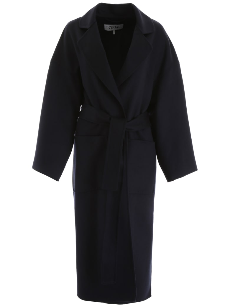 Loewe Wool And Cashmere Coat - NAVY BLUE (Blue)
