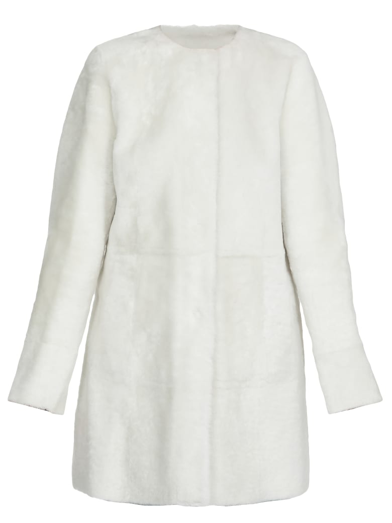 DROMe Reversible Fur Coat - WHITE