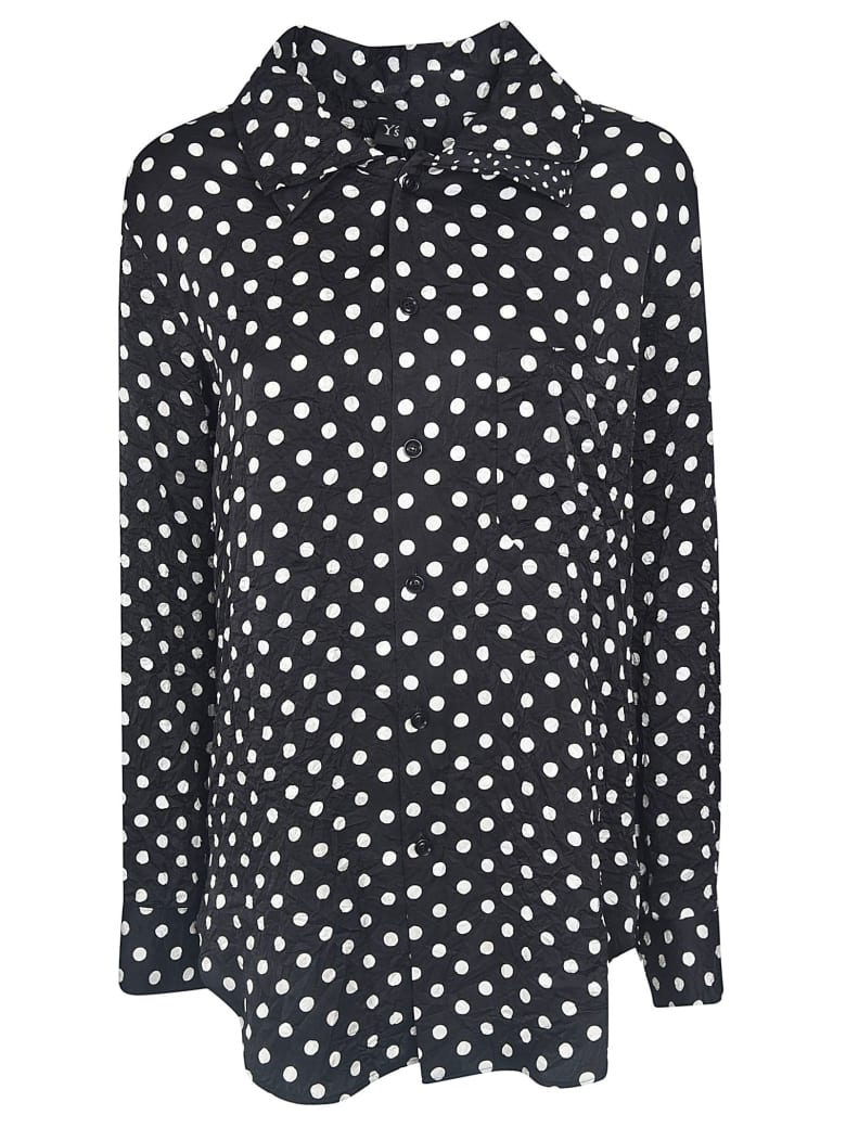 Y's Dotted Print Long Shirt - Black Pois