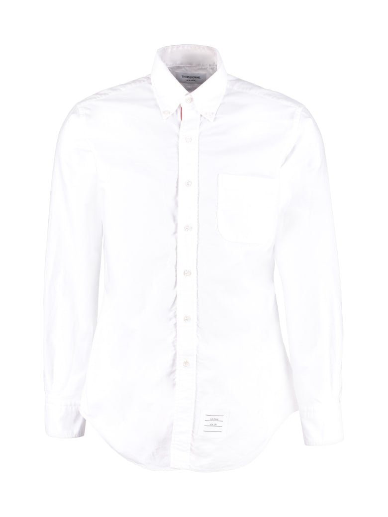 Thom Browne Cotton Shirt With Button-down Collar - White