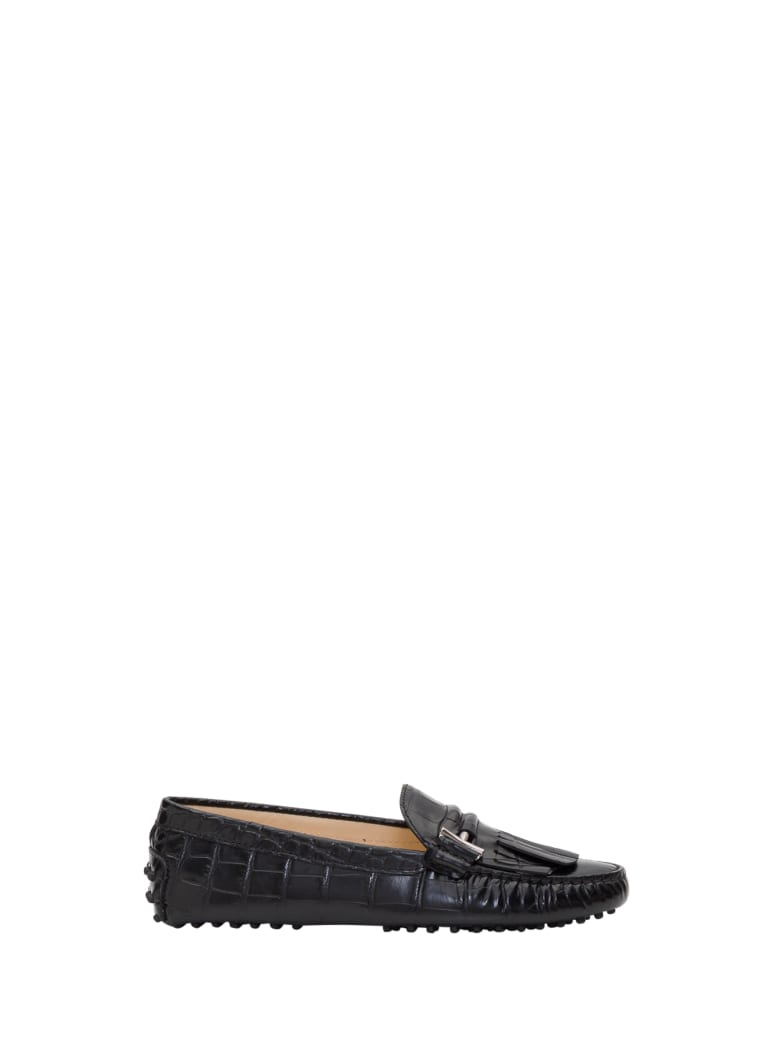 Tod's Double T Gommino Driving Shoes In Cocco Pritned Leather - Nero