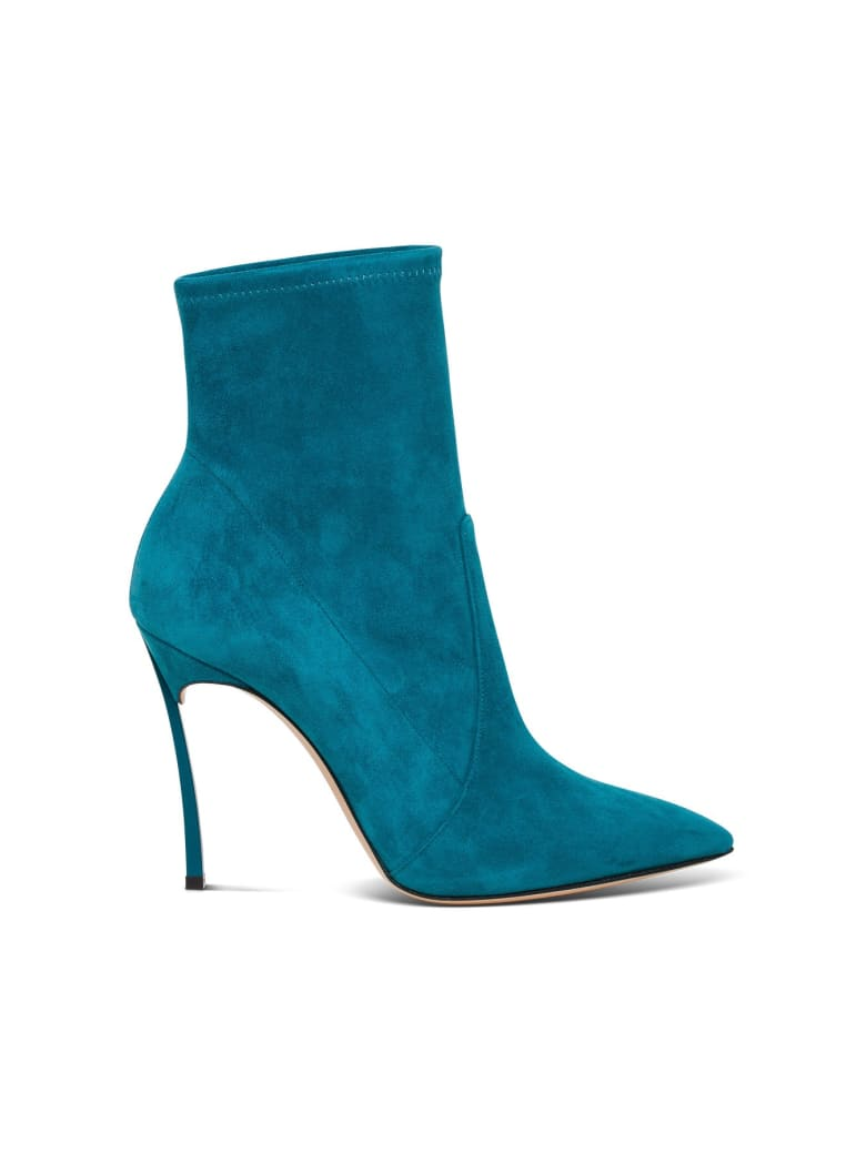 Casadei Blade Suede Ankle Boot - Light blue